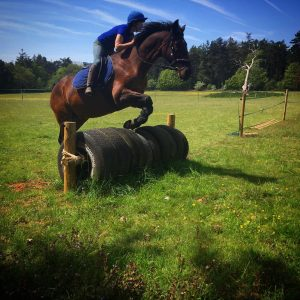 Pollyanna on her horse jumping a tyre jump on a cross-country course.  Demonstrating an effective equine partnership.